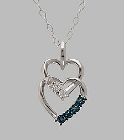 Sterling Silver Double Heart 0.05 ct. t.w. Blue Diamond 18