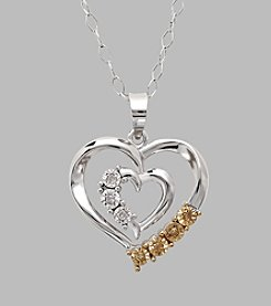 Sterling Silver Heart within Heart 0.035 ct. t.w. Yellow and White Diamond Pendant Necklace
