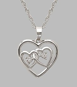 Sterling Silver Polished Double Heart 18