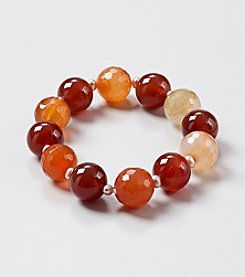 Large Tonal Genuine Carnelian Beads with Natural Pink Freshwater Pearl Beads Stretch Bracelet
