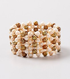 Genuine Champagne Color Tonal Freshwater Pearl Woven Stretch Bracelet