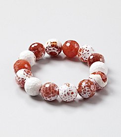 Genuine Large Faceted Natural Agate Beads Elastic Bracelet