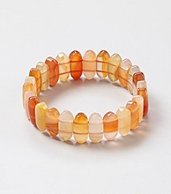 Genuine Natural Carnelian Small Rectangular Flat Beads Elastic Bracelet