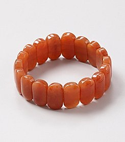 Genuine Natural Agate Rectangular Flat Beads Elastic Bracelet