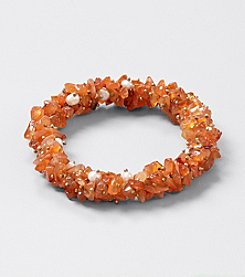 Genuine Carnelian Chips Elastic Bracelet with Freshwater Pearl Accents