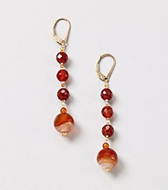 Genuine Faceted Tonal Carnelian Beads Linear Long Earrings
