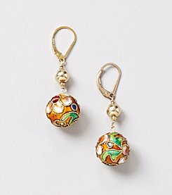 Genuine Cloisonne Ball Drop Earrings in Gold Over Silver