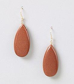 Genuine Gold Stone Flat Teardrop Earrings