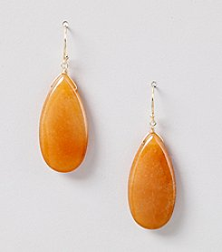 Genuine Light Carnelian Flat Teardrop Earrings