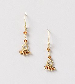 Genuine Faceted Hessonite Rondelle Cluster Drop Earrings