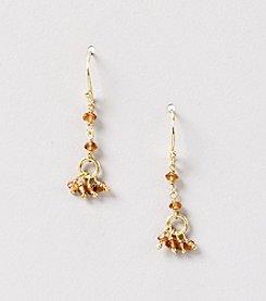 Genuine Faceted Hessonite Rondelle Cluster Drop Earrings