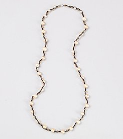 Genuine Large Champagne Pearl on Black Cord 38