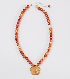 Faceted Natural Carnelian Beads 16
