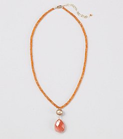 Genuine Faceted Carnelian Rondelles Necklace with Champagne Fresh Water Pearl Center and Agate Drop