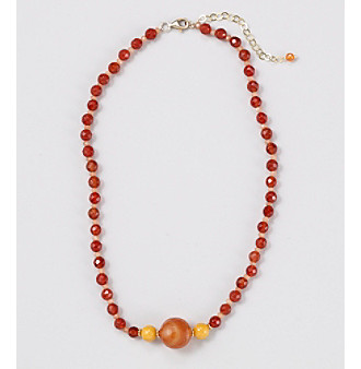 "Genuine Faceted Carnelian 16"" Necklace with Center Large Carnelian Accent Beads"
