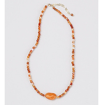 "Genuine Small Faceted Round Carnelian Beads 16"" Necklace with Center Long Oval Carnelian"