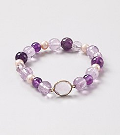 Multi Tonal Faceted and Smooth Amethyst Beads with Genuine Pink Fresh Water Pearl Stretch Bracelet