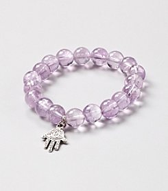 Genuine Amethyst Round Bead with Silver Plated Hand Pendant Stretch Bracelet