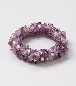 Genuine Multi Cluster Amethyst Chip with Freshwater Pearl Accents Elastic Bracelet