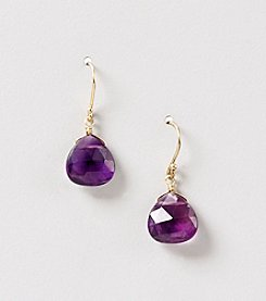 Faceted Amethyst  Heart Shaped Briolette Drop Earrings