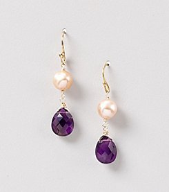 Genuine Faceted Amethyst Briolette Earrings with Natural Pink Fresh Water Pearl Accent