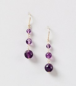 Multi Tonal Graduated Genuine Amethyst Drop Earrings