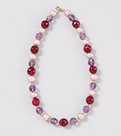 Genuine Faceted Amethyst/Fuchsia Colored Agate with Fresh Water Pearl and Gold Filled Beads Necklace