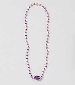 Genuine Faceted Amethyst Rondelle Linked Necklace with Center Faceted Amethyst Oval Accent