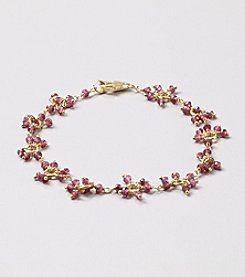 Genuine Faceted Garnet Rondelle Cluster Bracelet with Gold over Silver Clasp
