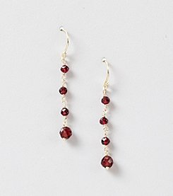 Genuine Faceted Garnet Linked Linear Earrings
