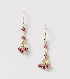 Genuine Faceted Garnet Rondelle Cluster Drop Earrings
