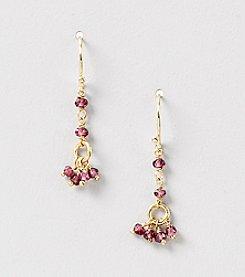 Genuine Faceted Garnet Rondelle Cluster Drop Earrings