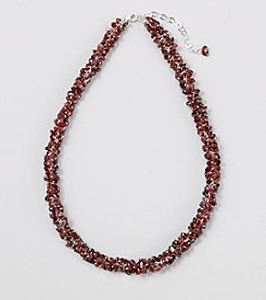 Genuine Garnet Chips Clustered Chips Necklace