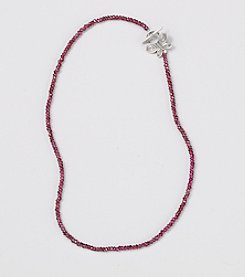 Genuine Faceted Garnet Rondelles Necklace with Beautiful Sterling Silver Butterfly Toggle Clasp