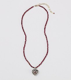 Genuine Faceted Garnet Rondelle Necklace with Center Marcasite Heart Locket & Sterling Silver Pendant