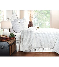 Greenland Home® White Ruffled 3-pc. Quilt Set