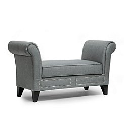 Baxton Studios Marsha Grey Linen Modern Scroll Arm Bench