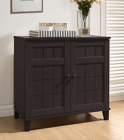 Baxton Studios Glidden Dark Brown Wood Small Modern Shoe Cabinet