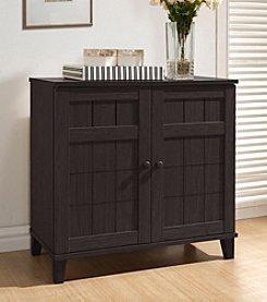 Baxton Studios Glidden Dark Brown Wood Small Modern Shoe Cabinet