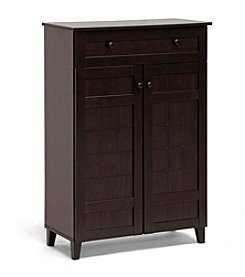 Baxton Studios Glidden Dark Brown Wood Tall Modern Shoe Cabinet