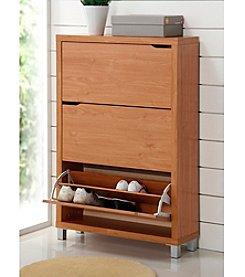 Baxton Studios Simms 3-Shelf Modern Shoe Cabinet