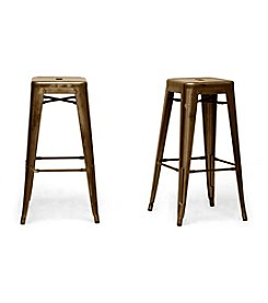 Baxton Studios Set of 2 French Industrial Modern Bar Stools