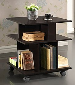 Baxton Studios Warren Dark Brown Wheeled Modern Storage Shelf