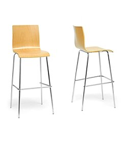 Baxton Studios Set of 2 Sydney Plywood Modern Bar Stools