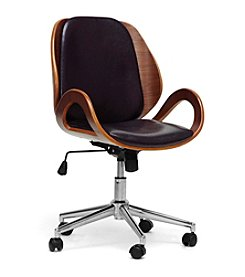 Baxton Studios Watson Walnut and Black Modern Office Chair