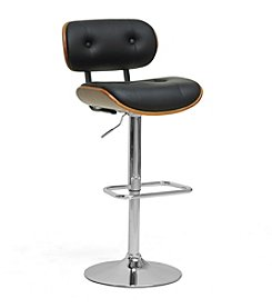 Baxton Studios Leona Walnut and Black Modern Bar Stool