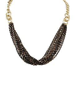 Black Goldtone Multi Strand Necklace