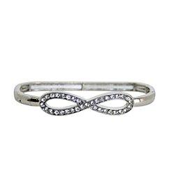 Silvertone Clear Gem Infinity Bracelet