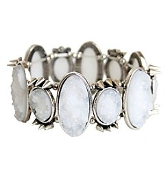 White Stone and Silvertone Spike Stretch Bracelet