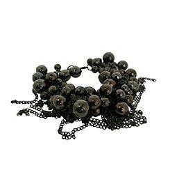 Gun Metal Bead Cluster Bracelet